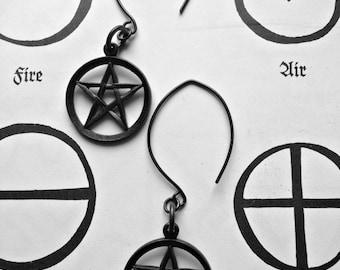 Pentagram Amulet Drop Earrings