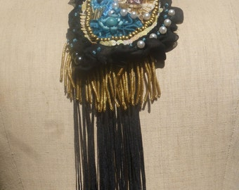 """Necklace """"The enchanting Comtesse"""" lace, glass beads, sequins, crystals, embroidery, BoutonRose, old golden fringe, black, blue, woman"""