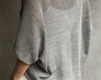 100% Cotton Loose-Knit Shrug / Cardigan / Shoulder Cover-Up / Short-Sleeve Shawl / Stole / Sweater /  Sheer Flannel Grey Knitted