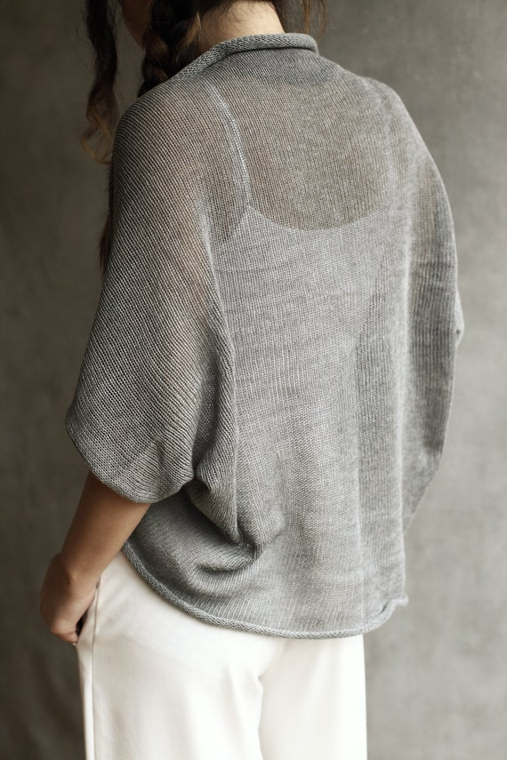 100% Cotton Loose-Knit Shrug / Cardigan / Shoulder Cover-Up /