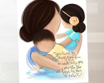 Mother and Children - Black Hair - Family Wall Art Print