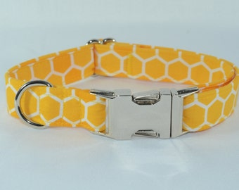 Honeycomb Busy Bee Dog Collar, Personalized, Engraved, ID Buckle