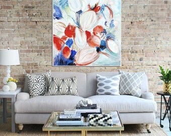 Large Abstract Painting, Original Painting, Abstract Canvas Painting, Modern Art, Contemporary Art, Abstract Flower