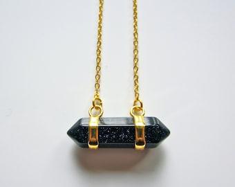 Semi Precious Double Point Blue Sandstone Pendant on Gold Fine Chain Necklace