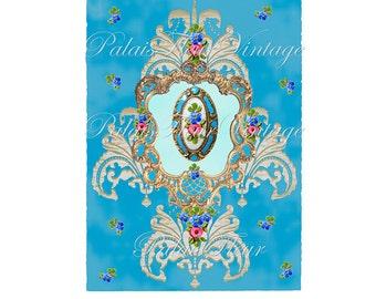 French Antique Blue Rose Floral Graphic Instant Download Design no.2 Vintage Wallpaper Collage Sheet Victorian Art PalaisFleurVintage