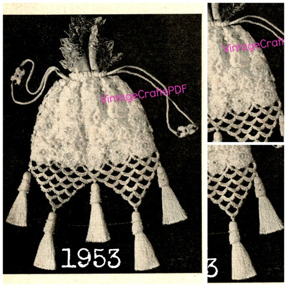 Crochet Evening Bag Pattern : 1953 Crochet Pattern Evening Bag Wedding Day Bride Gloves Pattern ...