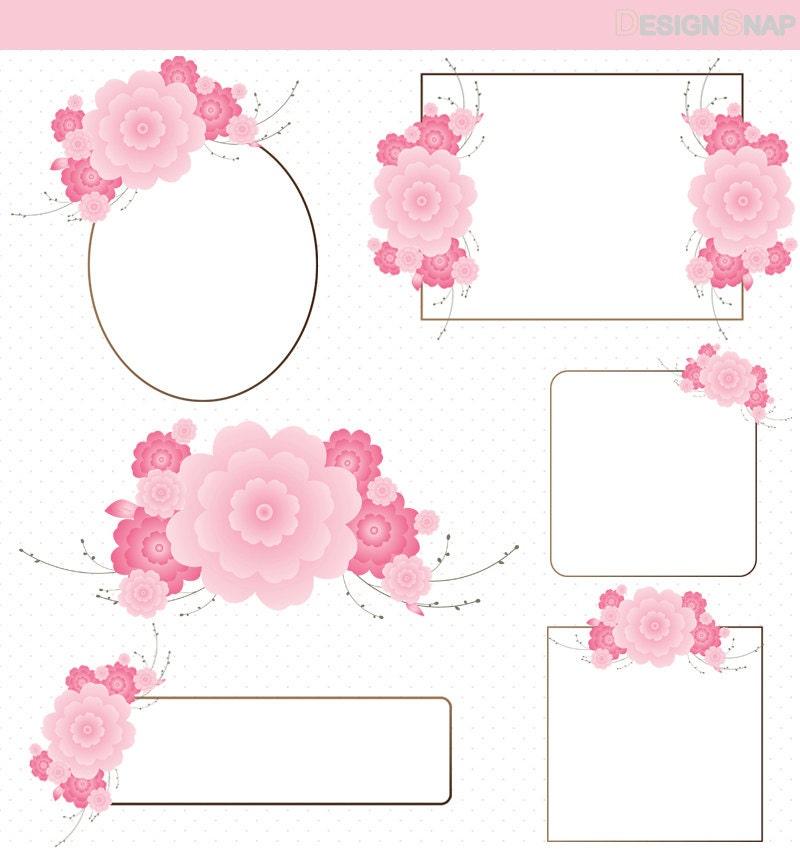 Flower Frame Clip Art, Cherry Blossom Digital Clipart ...