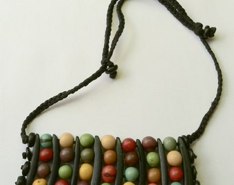 Repurposed Vintage Dyed Wooden Beads Bib Necklace