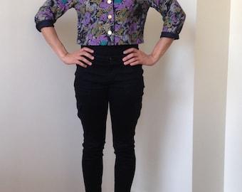 Cropped Floral Print Jacket/Blazer