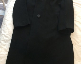 Black Coat with Fur , size 16 approx.