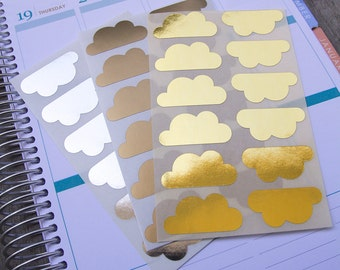 36 metallic cloud stickers, planner stickers, sticker reminder checklist sticker, gold silver cloud label eclp filofax happy planner kikkik