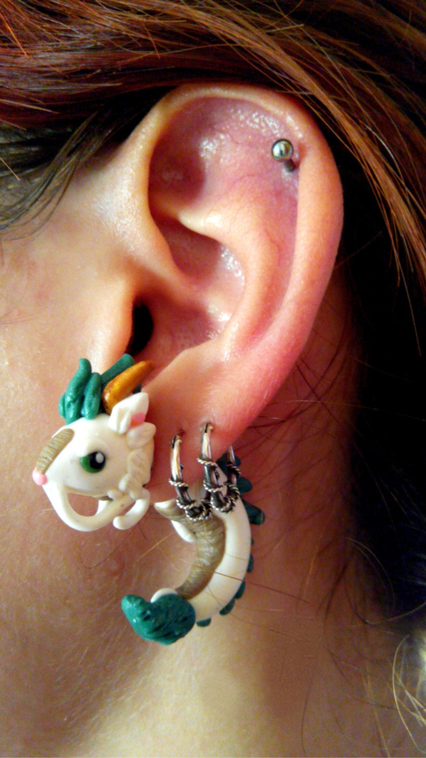 Haku dragon form spirited away fake gauge earring studio for Piercing salon