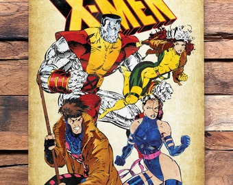 90's X-Men Colossus, Rogue, Gambit & Psylocke Print