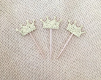 Gold Glitter Crown Cupcake Toppers Set (12), Princess Birthday, First Birthday, Baby Shower, Party Decor, Gold Glitter Crowns, Dessert Table