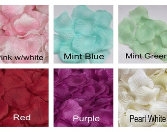 1000 Artificial Silk Rose Flower Petals, Royal Blue, Mint Green, Purple Red, Pink Rose Petal Confetti, Party Decor and Wedding Decoration