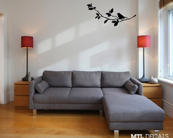 "Bird on Branch Wall Decal /  Nature Wall Sticker (36"" x 17"")"