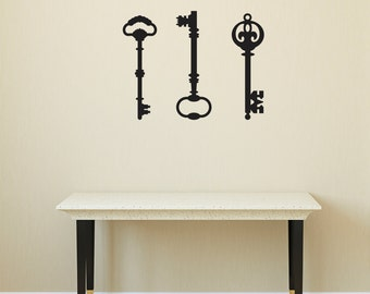 "Three Keys Wall Decal / Home Wall Sticker / 3 x (9.47"" x 29"")"