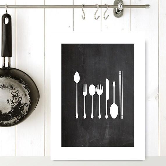 Utensil print printable art 8x10 kitchen by pastelprintablez for 8x10 kitchen designs