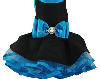Black & Turquoise Couture Party Dress for Dogs by Bella Poochy TM