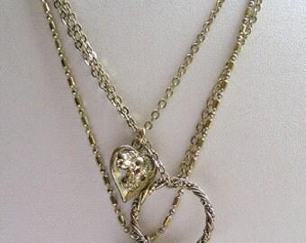 1928 Jewelry Triple Strand Charm Necklace