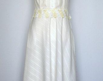 Vintage 70s Dress   70s Lace Dress   70s Sleeveless Maxi Dress   70s Off White Dress Medium