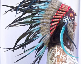 Artisan Feather Headdress - Costume Headpiece Inspired by Native American Headdress aka Indian Headdress - Turquoise Rooster