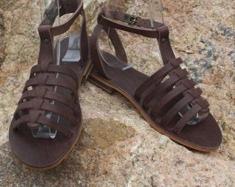 Brown Gladiator Mugla Sandal / Handmade in Turkey