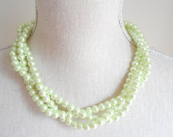 Pale mint green multi strand plaited chunky beads pearl necklace, Unique for wedding, Bridesmaid Gifts, Mother of the Bride, Valentine's day
