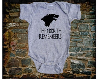 Game of Thrones onesies Dire Wolf The North Remembers Onesies Infant One Piece Bodysuit