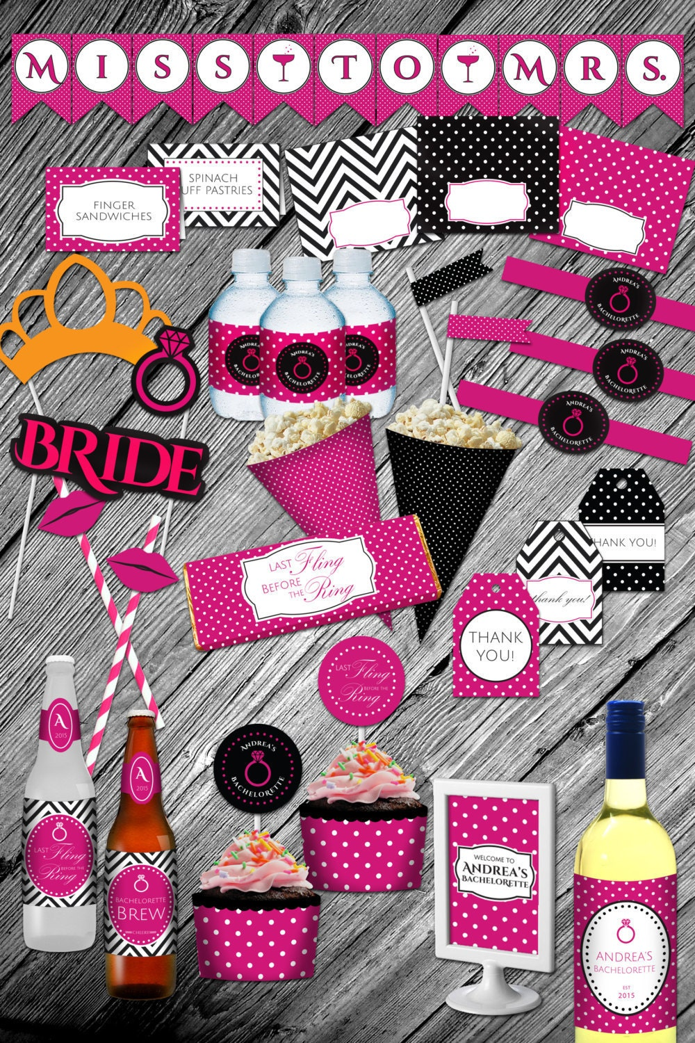 Bachelorette party pink and black polka dot printable for Bachelorette party decoration ideas diy