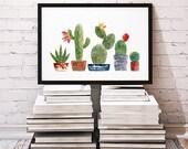 Cactus art, cactus print, watercolor flower, cactus painting, flower illustration, succulent print, crochet cactus, knitted artwork