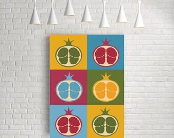 Mid century modern art, minimalist wall art, Pop art, Pop art print, scandinavian art, kitchen wall art, kitchen print, retro, Pomegranate