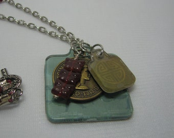 Butterflies in Red Tag Neclace