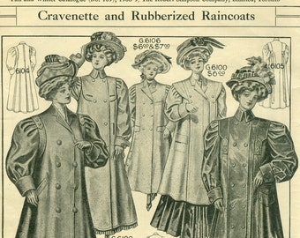 Simpson Canada, Rare Vintage Edwardian Fashion Page, Robert Simpson Company, Catalog, Canada, 1908,  Women's Fashions catalogue