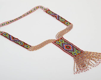 Colorful Long Beaded Necklace - split loom necklace - ethnic beadwork jewelry