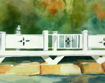 "Original Watercolor Painting called ""Bridge with Seagulls"""