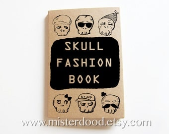 SKULL FASHION Notebook, Funny Cute Ghost Doodle Icons, Kraft Journal, Secret Spooky Diary, Stationery for Him, Cool Weird Gift for Halloween