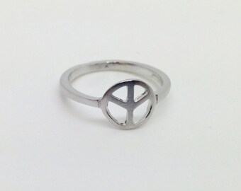 925 Sterling Silver with Rhodium Peace Ring for Women