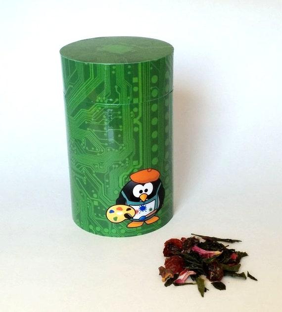 Tea Tin Green Circuit Board And Penguin Perfect As A Tea