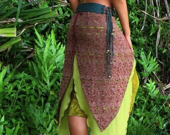 Cicada Wings ~ Raw Silk Filigree Embroidery Brown Skirt, Fairy, Elven, Pixie skirt, Goddess, Festival, Dance, Woodland Skirt