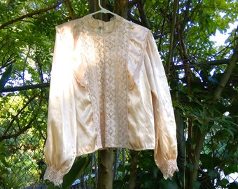Vintage Cream Silk Crocheted Blouse