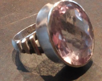Huge Amethyst Oval Ring, Sterling Silver, Size 7. Pale Pastel Purple, Faceted and Bright.