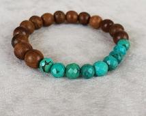 Wood and Turquoise beaded bracelet for him, Healing bracelet for men, wooden beaded bracelet, Boho Yoga bracelet gift for him