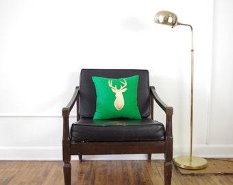 Kelly Green + Metallic Gold Deer Head Pillow - SALE Ready to ship!