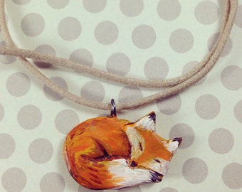 Hand Painted Sleeping Fox Necklace