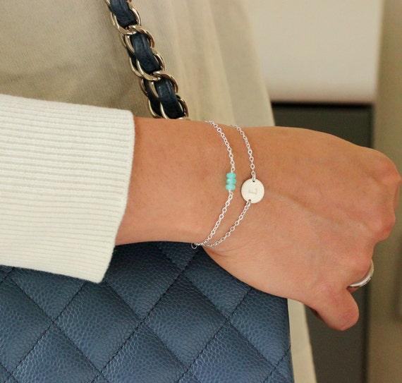Custom Initial Bracelet, Charm Bracelet, Silver Tiny Bar Gemstone Bracelet or Stacking Bracelet Set, 14k Gold Bracelet / Engraved Bracelet