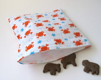 Reusable Snack bag, Sandwich bag, with fun Orange Crabs, nautical and preppy for Summer lunches