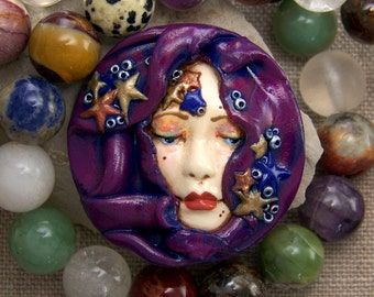 The Fortune Teller Veiled Lady Face cab witPolymer Clay OOAK hand painted Cameo 41mm round Cabochon