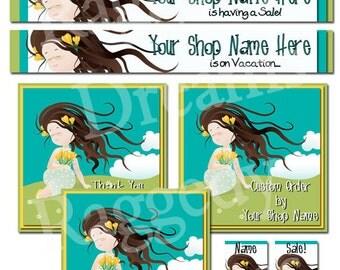 Premade Etsy Shop Set - Premade Etsy Banner Set - Etsy Shop Banner - SHOP ICON - Shop Profile Photo - Daydreamer Brown Hair Little Girl