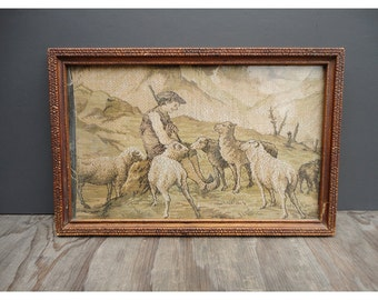1900s  Shepherd Tapestry - Flock of Sheep - Framed Pastoral Scene